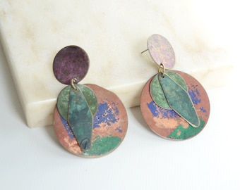 1980s Circular Colored Metal Earrings