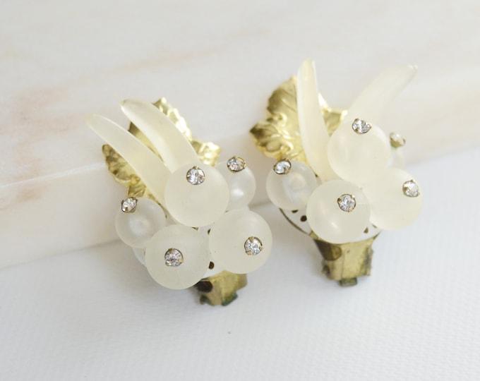1950s Clear Fruit Cluster Earrings