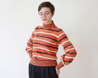 1970s Orange Striped Sweater - M