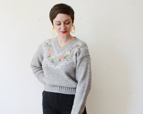 1980s Grey Floral Sweater - M