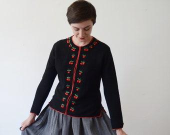 1950s Black Wool Cherry Sweater - M