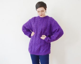 1980s Purple Mohair Sweater - M/L
