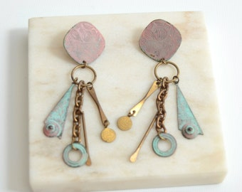 1980s Pastel Metal Dangle Earrings