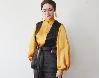 1920s Black Silk Vest - S/M