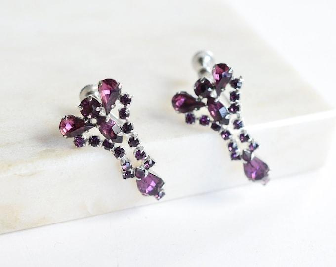 Screw-back 50s Purple Rhinestone Dangle Earrings