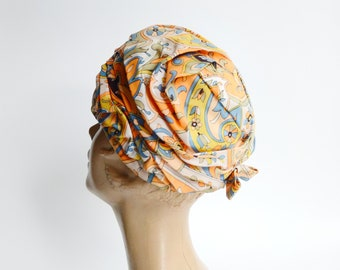 1960s Floral Turban Hat