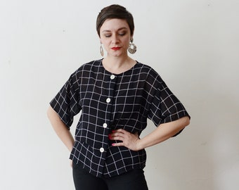 1980s Sheer Black and White Blouse - M/L