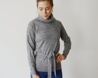 1970s Grey Turtleneck Sweater - S/M