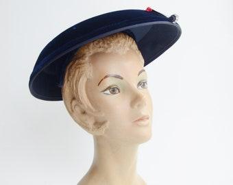 1950s Blue Velvet Mushroom Hat