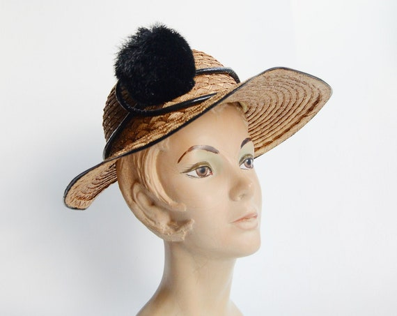 1940s/1950s Straw Sunhat with Pom Pom