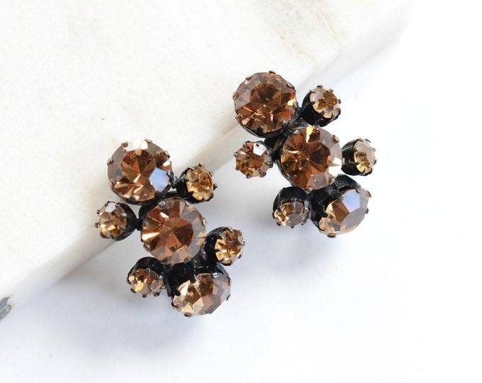 1950s Weiss Rhinestone Earrings