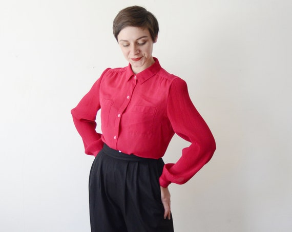 Vintage Fuchsia Pleated Blouse - M