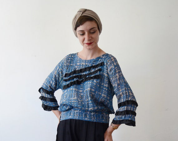 1920s Blue Silk Blouse - S/M