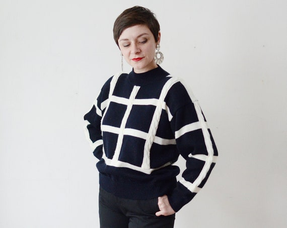 1980s Black and White Sweater - M/L