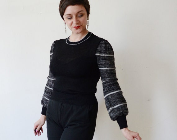 1970s Black and Silver Sweater - S