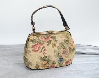 1950s Floral Tapestry Handbag