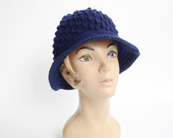 1970s Navy Knit Bucket Hat
