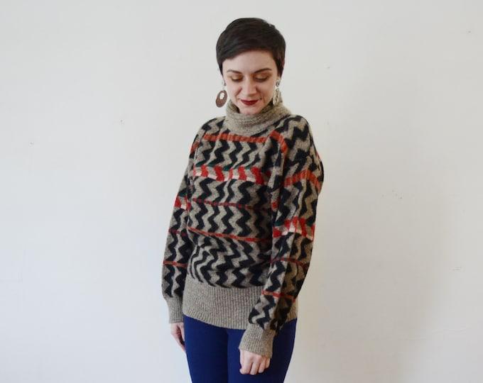 1980s Wool ZigZag Sweater - M