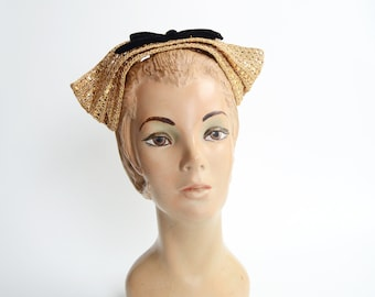 1940s Gold Headband Hat