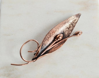 50s Renoir Copper Leaf Brooch
