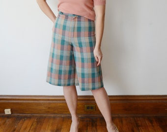 1970s Green Plaid Culottes - S