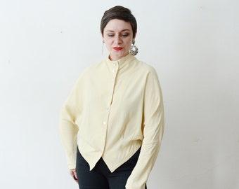 1980s Cream Button Up Blouse - S/M