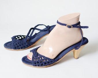 1970s Blue Crochet Heels - 8.5