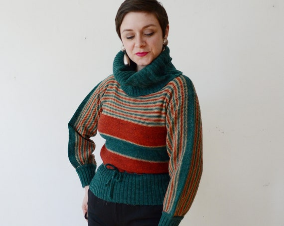 1970s Striped Turtleneck Sweater - S