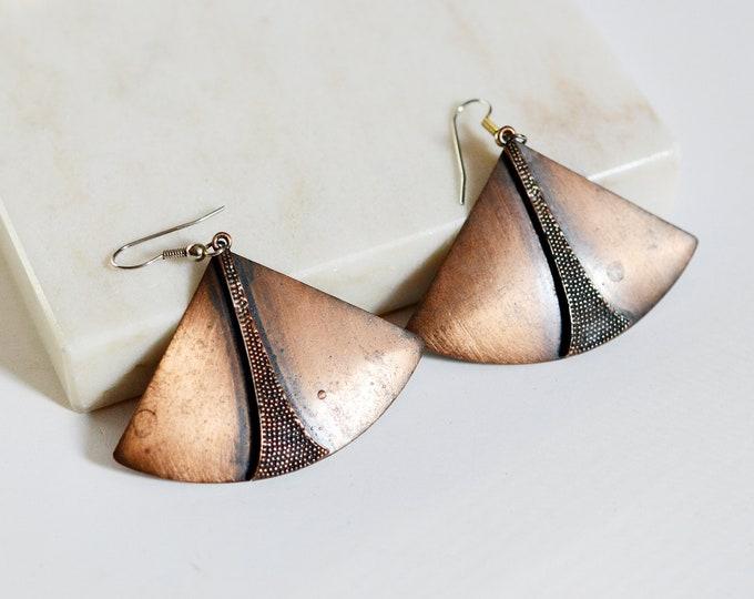 1970s Copper Fan Earrings
