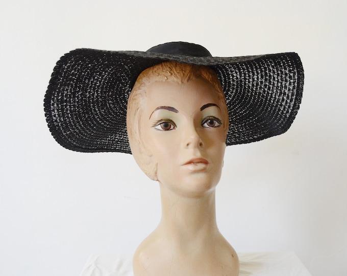 1950s Black Wide Brim Hat / Picture Hat / Platter Hat