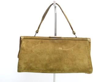 1950s Brown Suede Handbag