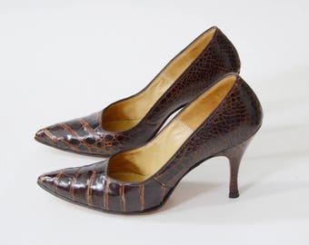 1950s Alligator High Heels - US7