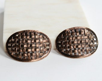 60s Copper Basketweave Shoe Clips