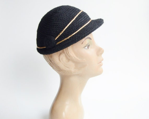 1950s Black and Gold Needlepoint Hat