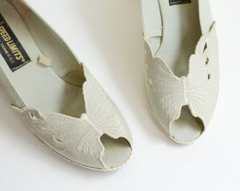 1980s Butterfly Espadrille Wedges - 6.5