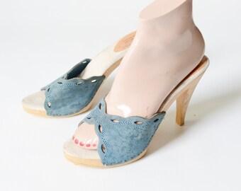 Italian Blue Leather 70s Mules - 7