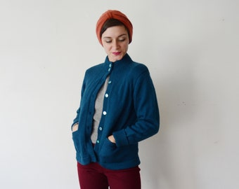1960s Teal Blue Wool Ski Sweater - M