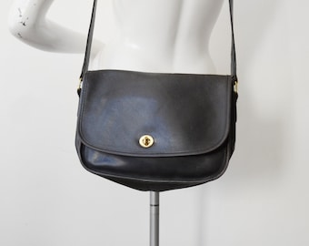 Vintage Black Leather Coach City Bag