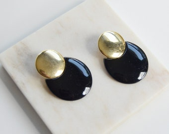 1980s Gold and Black Circular Earrings