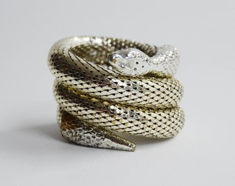 Whiting and Davis 3 Coil Silver Snake Bracelet