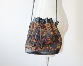 1980s Tapestry and Leather Drawstring Bag