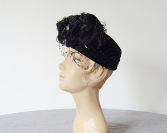 1940s Ostrich Feather Pillbox Hat