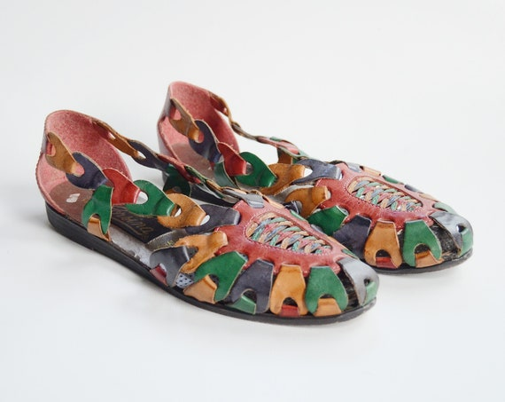 90s Multicolor Woven Leather Flats - US5.5B