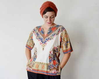 1980s Cotton Dashiki Top - S/M