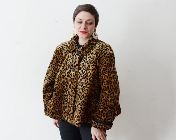 1980s Cropped Faux Fur Swing Coat - M