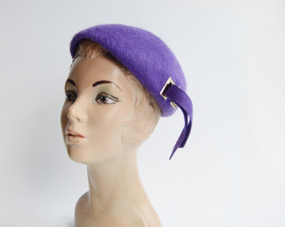 1960s Purple Mohair Beret Hat