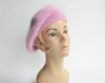 Aris Light Purple Angora Knit Beret