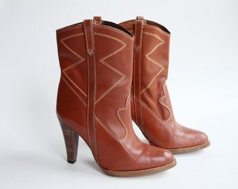 1970s Stacked High Heel Cowboy Boots - 8/8.5B