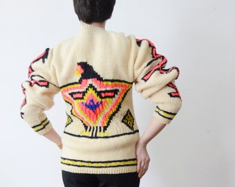 1970s Hand Knit Neon Thunderbird Sweater - M