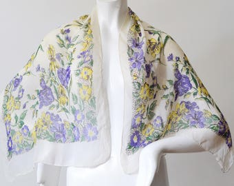 Vintage Mid Century Floral Iris Scarf